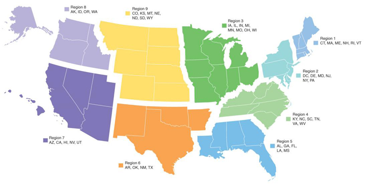 Affiliate Assembly Regions American Association Of School - Us map divided into regions