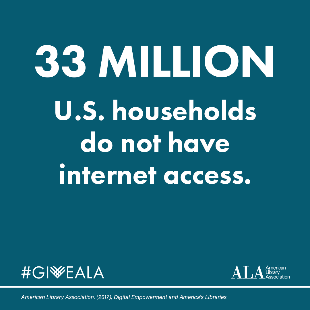 33 MILLION U.S. households do not have internet access. GiveALA American Library Association