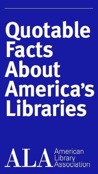 "brochure cover image reading ""Quotable Facts About America's Libraries"" ALA"