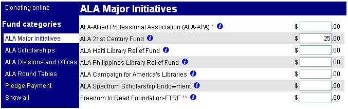 ALA Major Initiatives