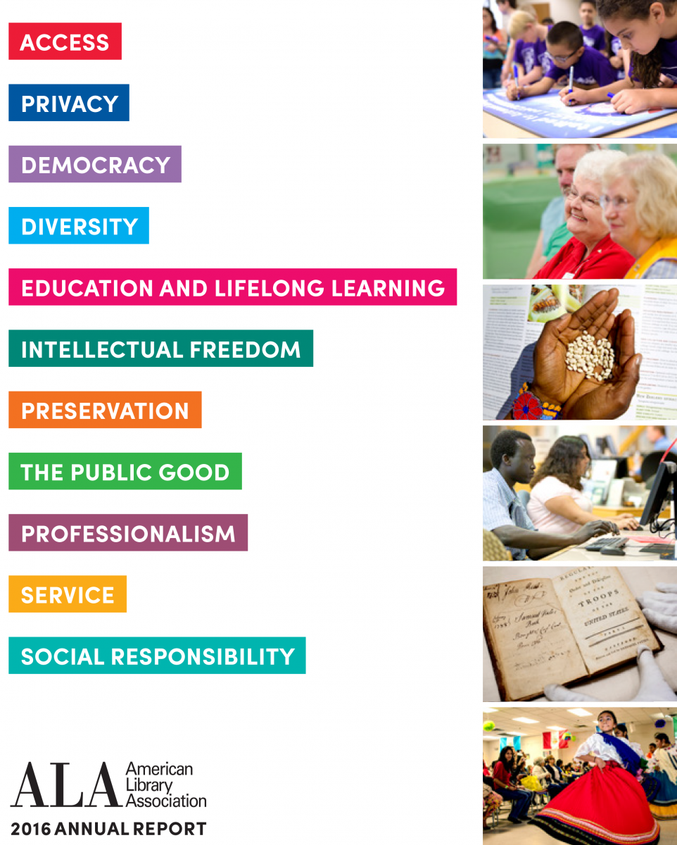 Report cover: American Library Association 2016 Annual Report, Access, Privacy, Democracy, Diversity, Eduacation and Lifelong Learning, Intellectual Freedom, Preservation, THe Public Good, Professioanlism, Service, Social Responsibility