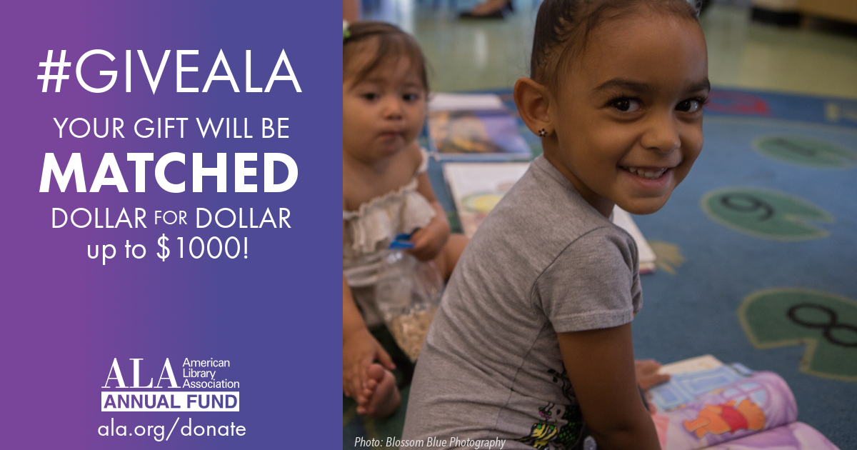 Facebook graphic: #GiveALA this Giving Tuesday and your gift will be matched dollar for dollar up to $1000, ALA Annual Fund, ala.org/donate