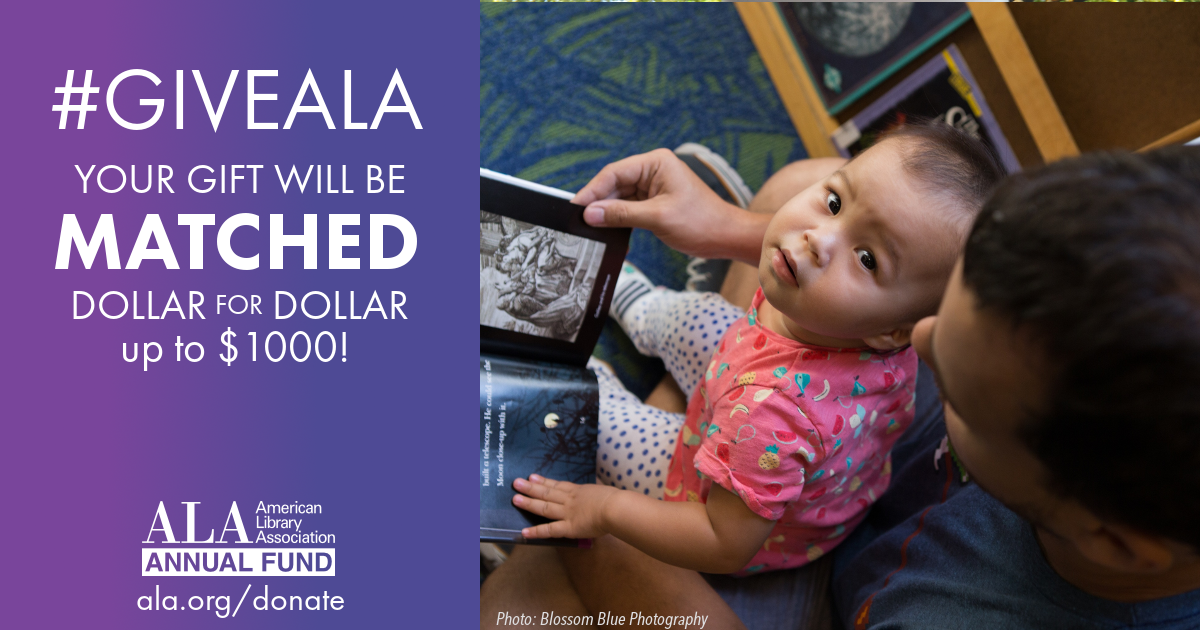 Facebook graphic: Baby reading with father, #GiveALA this Giving Tuesday and your gift will be matched dollar for dollar up to $1000, ALA Annual Fund, ala.org/donate
