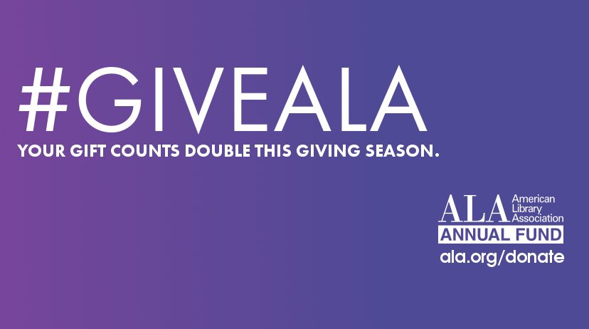 Facebook cover art: #GiveALA, Your gift to ALA counts double this Giving Tuesday
