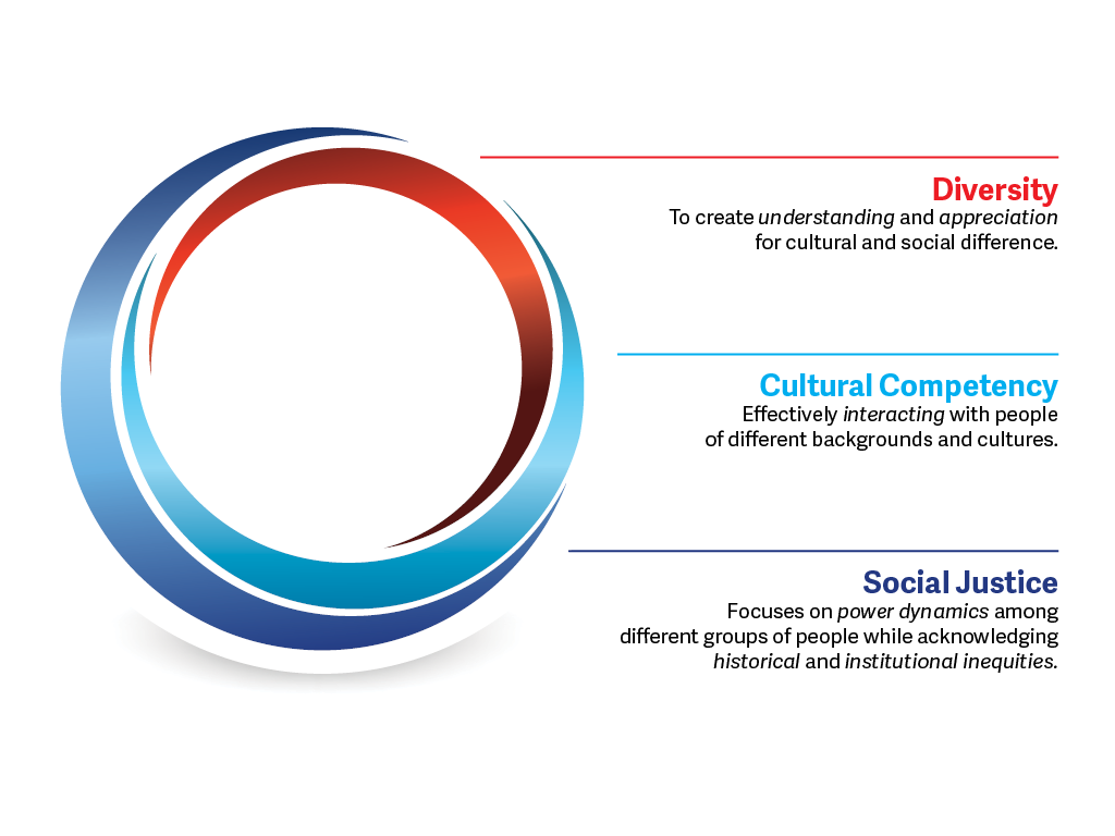Graphic of three frameworks, diversity, cultural competency, and social justice