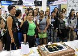 Spectrum supporters and scholars celebrate the successful conclusion of the Spectrum Presidential Scholarship Initiative with a cake-cutting ceremony at ALA Annual Conference 2012 in Anaheim.