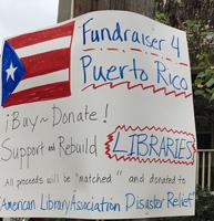 Elissa Miller's sign for Puerto Rico Fundraising efforts
