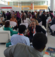 Librarians gathered inside Librarians Lounge in Sharjah