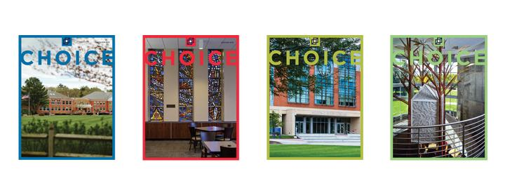 Choice Magazine: Each Monthly Issue Offers 500 scholarly Reviews and Other Features. Four photographs of libraries from the cover of Choice magazine.
