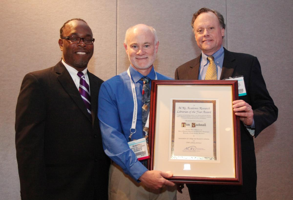 Left to Right: Trevor Dawes, ACRL President; Tim Bucknall, 2014 ACRL Academic/Research Librarian of the Year and Assistant Dean of Libraries and Head of Electronic Resources and Information Technologies, University of North Carolina at Greensboro; Mark Kendall, Senior Vice President, Sales, YBP Library Services