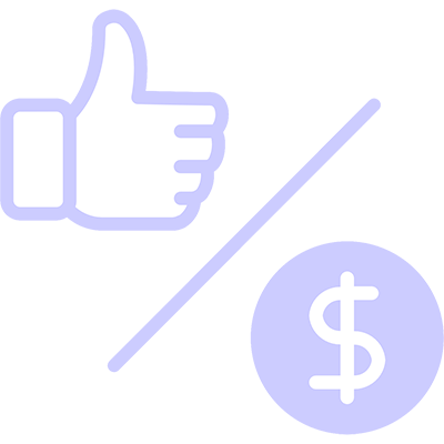 Graphic of a thumbs up and dollar sign