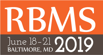 RBMS 2019 Conference logo with text: RBMS, June 19-22, 2019, Baltimore, MD