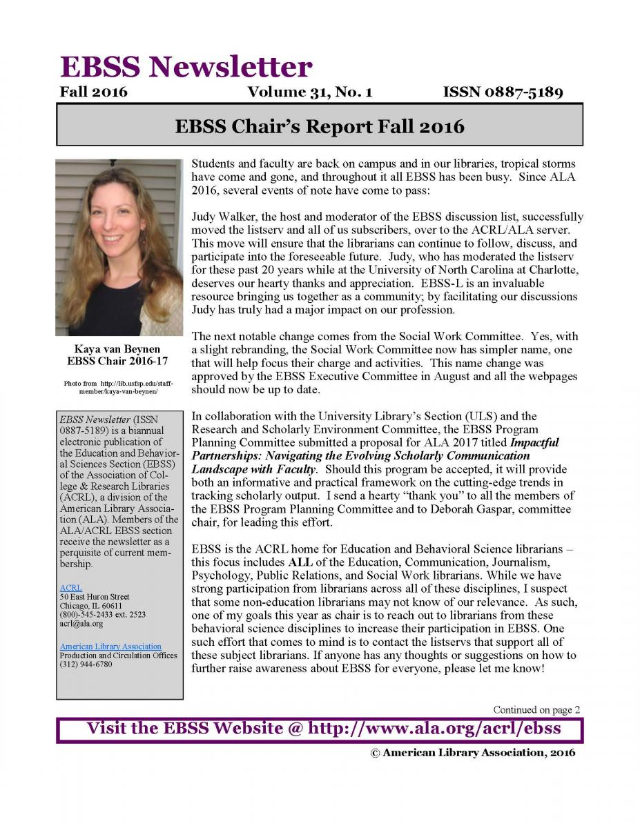 Front page of EBSS Newsletter