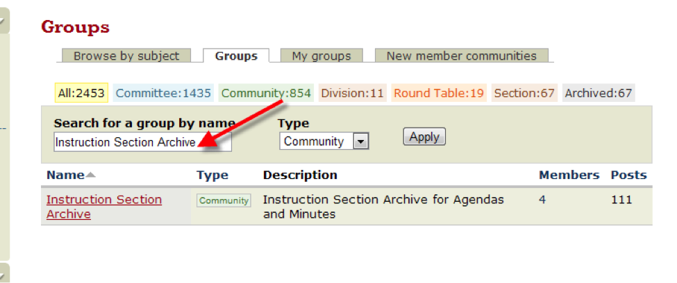 Image of how to Search for group