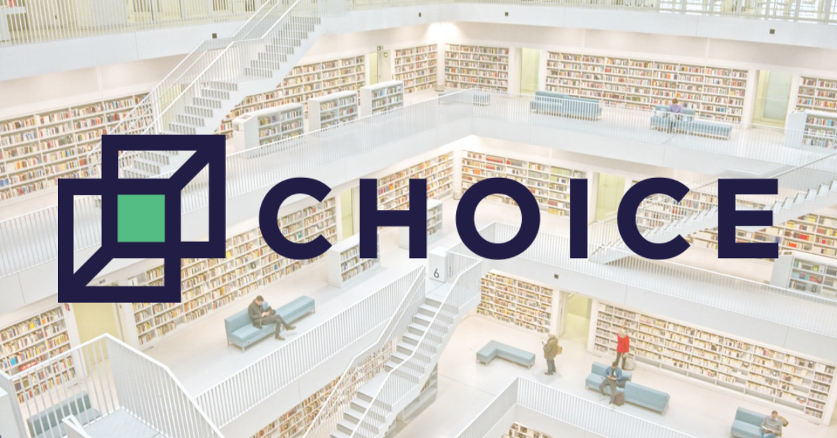 Photo of a library overlayed with CHOICE logo