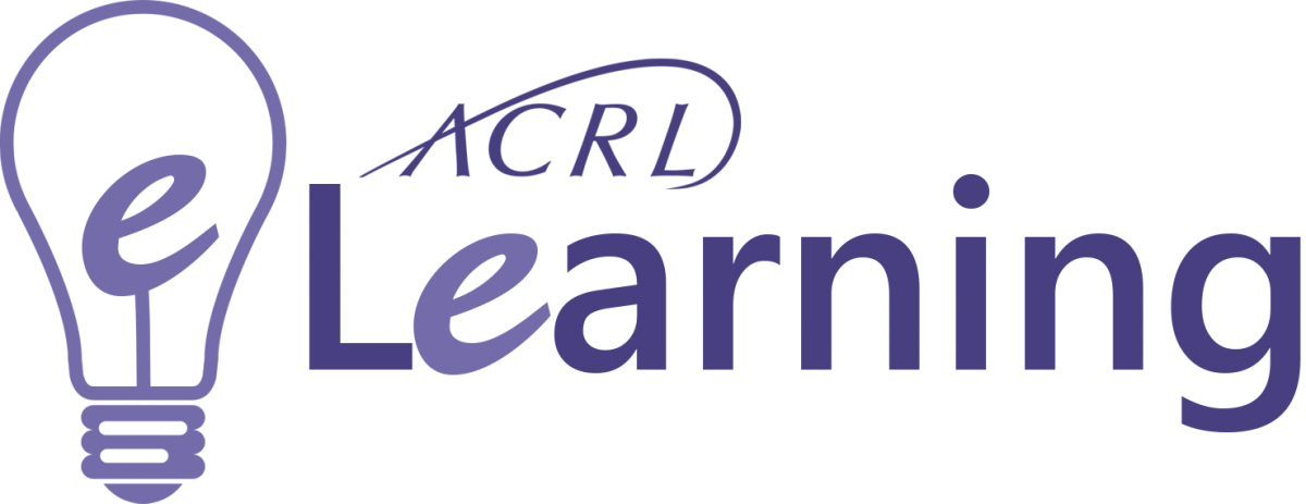 ACRL e-Learning logo featuring a purple drawing of a lightbulb