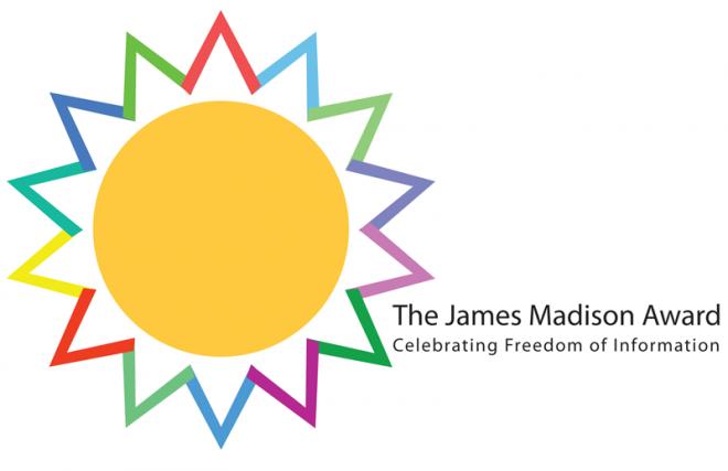 James Madison Award logo, sun with multi-colored rays