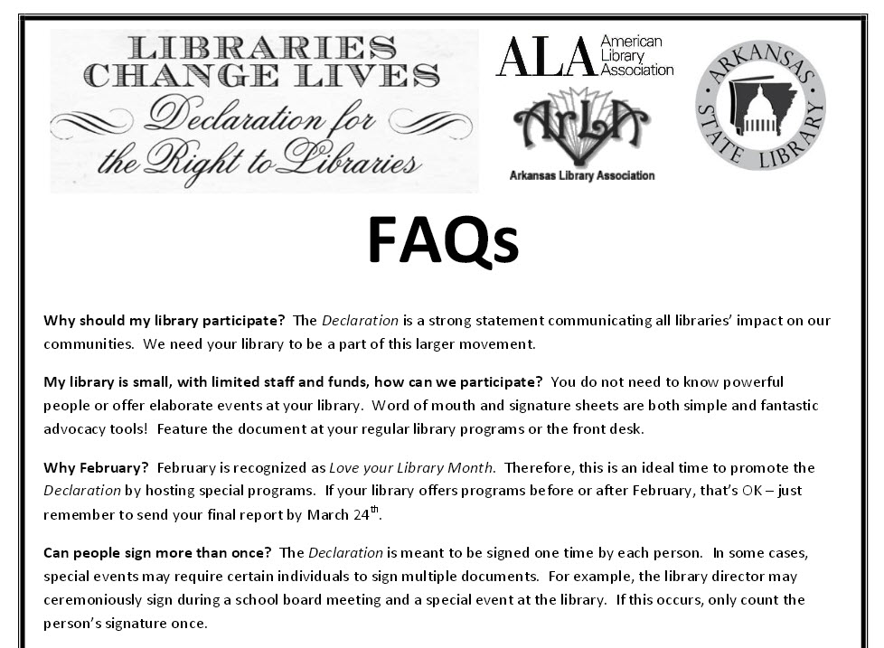 FAQ sheet for the Declaration provided by the Arkansas Library Association