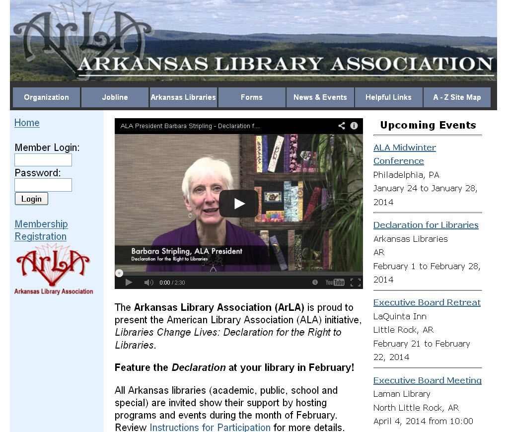 Arkansas Library Association homepage featuring the Declaration for the Right to Libraries