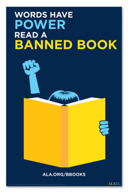 "Light blue figure holding open book and raising fist in air against a navy background. Title of poster ""Words have power. Read a banned book."""