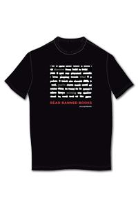 Read banned book T-shirt with crossed-off text