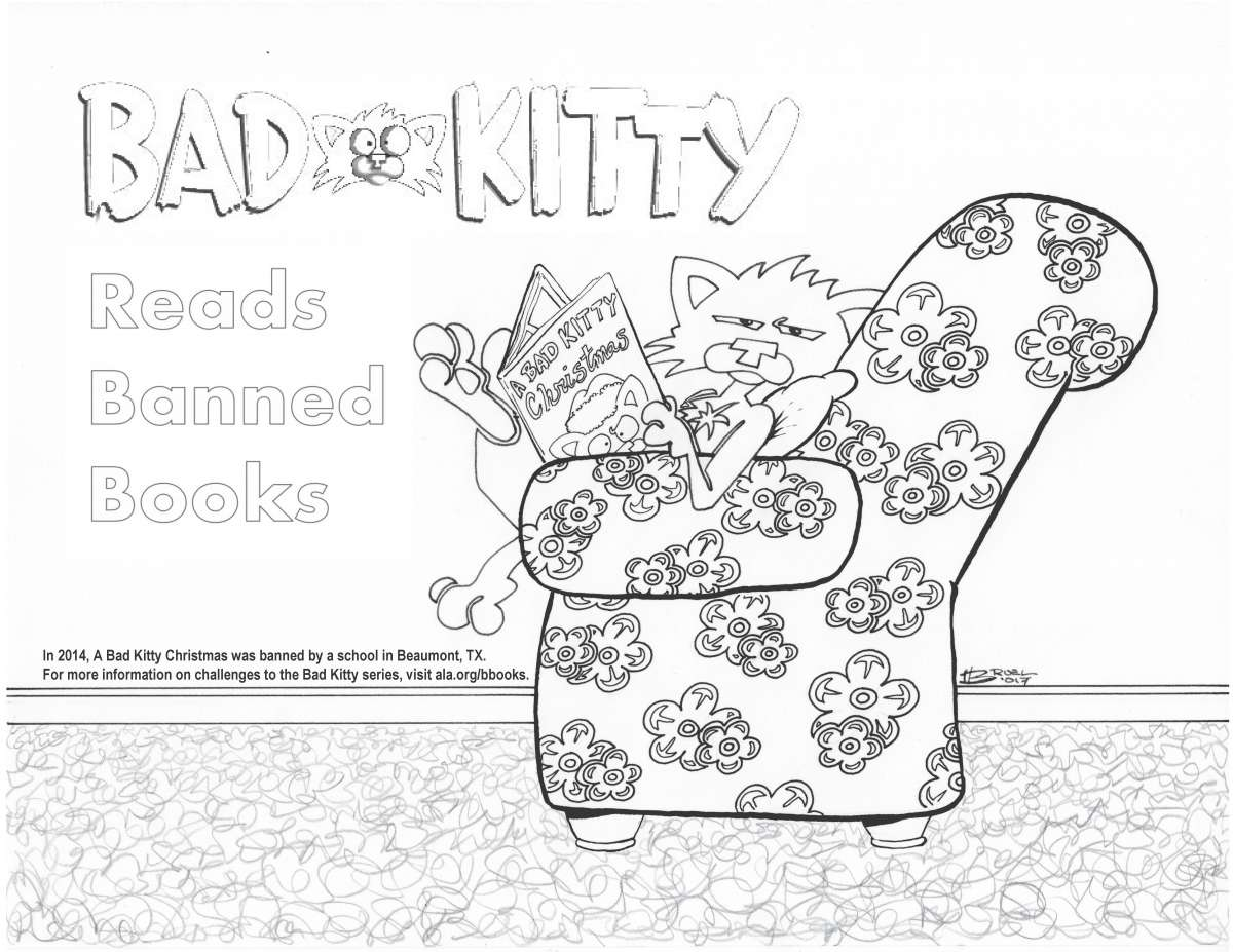 Bad Kitty Reads Banned Books Coloring Sheet