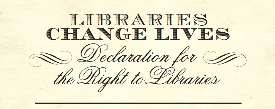 Declaration for the Right to Libraries logo