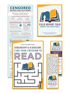 Censored Books and Authors poster, Field Report, Censorship is a Dead End poster, Top 10 Most Challenged Books bookmark, Find Your Freedom to Read bookmark