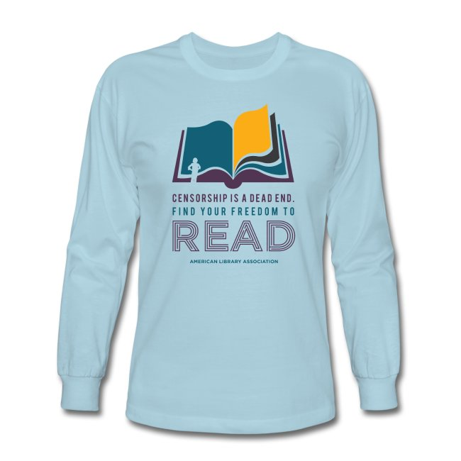 Find Your Freedom to Read long-sleeved, bright blue t-shirt