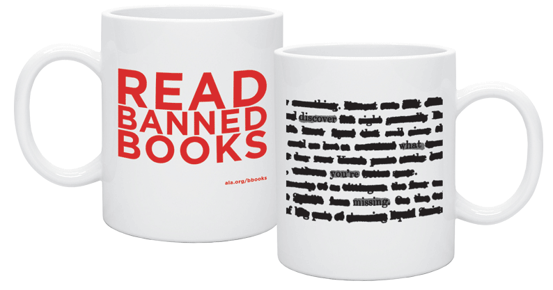 Read Banned Books mugs with redacted text