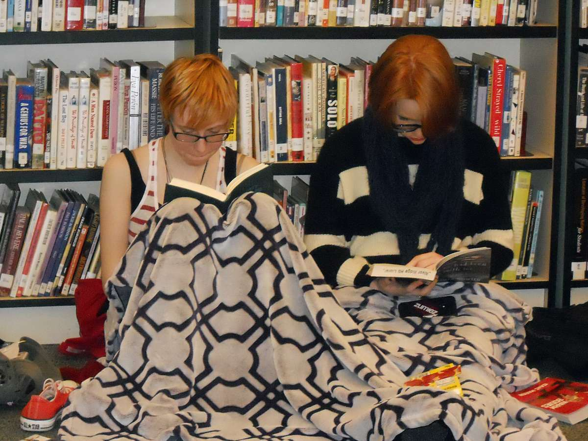 Teens spend the day in the library, wearing pajamas, reading, and signing the Declaration for the Right to Libraries