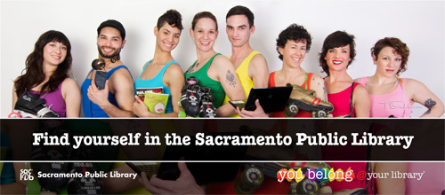 Find yourlself @ your library (group of diverse people in rainbow colored garb)