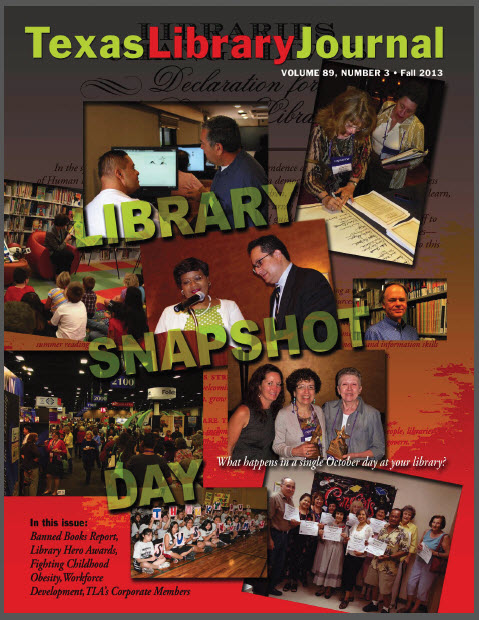 Texas Library Journal cover about Library Snapshot Day