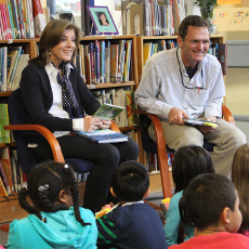 "Caroline Kennedy meets with students and school librarian, Craig Seasholes, at the Sanislo Elementary School library to share from her recent book, ""Poems to Learn by Heart."""