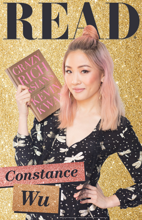 READ poster (Constance Wu holding book: Crazy Rich Asians)