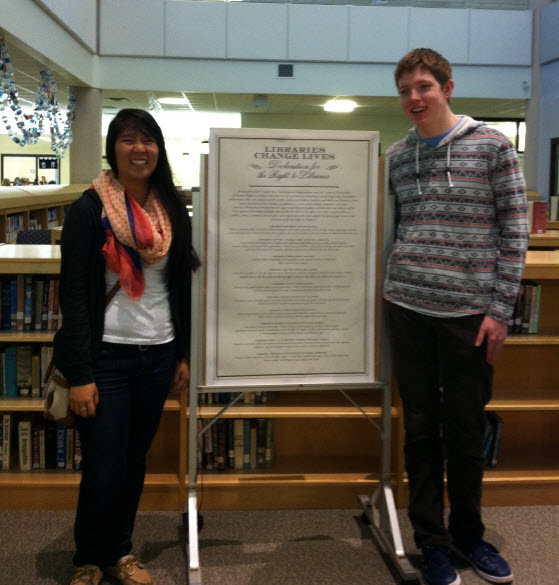 Students at Battle Creek, MI High School conducting a Declaration signing