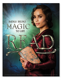 Read poster: Books bring life to libraries. READ. Zoe Kravitz as Leta LeStrange.