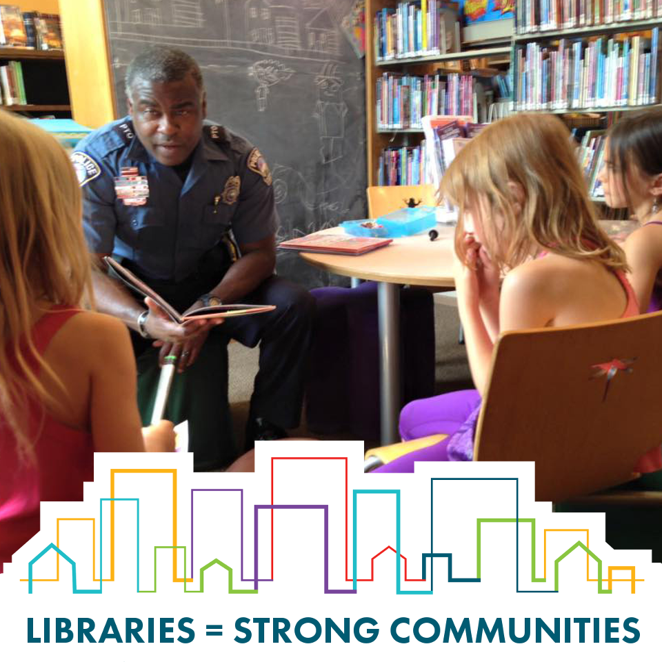 Libraries = Strong Communities: Policemann meeting with kids at the library