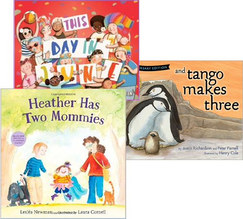 "Collection of banned books: ""And Tango Makes Three,"" ""Heather has Two Mommies."""