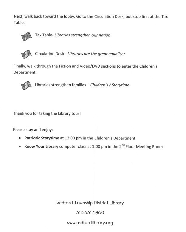 Flyer from Redford Township Library Declaration event