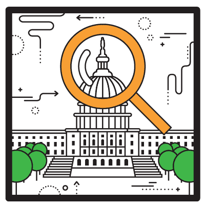 Cartoon drawing of the Capitol building in Washington, D.C., with a magnifying glass over the dome.