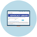 A laptop with the Advocacy Library webpage on the laptop's screen.