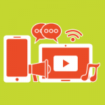 A cellphone, megaphone, computer screen, music note, Wifi signal, and two speech bubbles