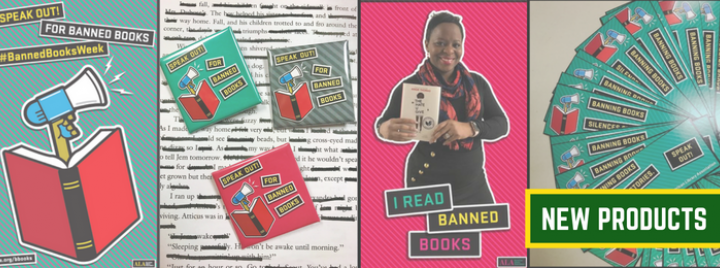 Pictures of green and pink banned book bookmarks, posters and buttons