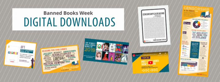 Banned Books Week Digital Downloads: collage of infographics, a maze worksheet, and a video screenshot, all with the gold and turquoise color scheme