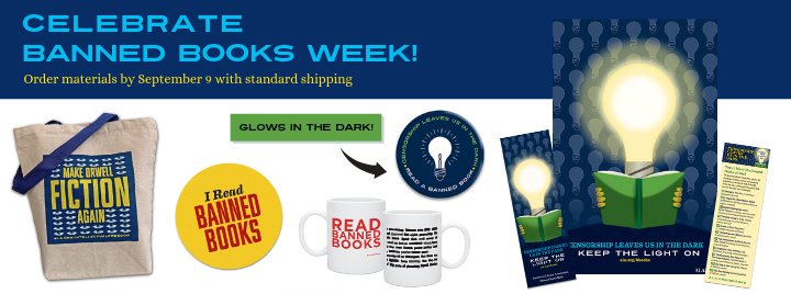 Celebrate Banned Books Week - tote, sticker, poster, bookmarks, mugs