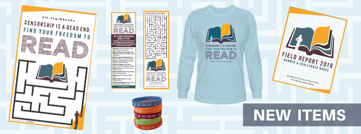 "Poster, long-sleeve shirt, booklet, and two bookmarks with maze imagery and tagline ""Censorship is a Dead End. Find Your Freedom to Read."""