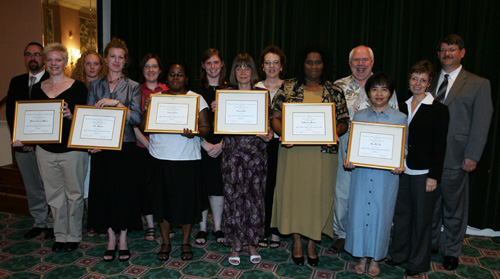 sage library support staff travel grants: (front row, l to r) sage recipients monica claassen-wilson; julia merkel; audrey pryce; nancy slate; lashawn wilson; siu min yu; (back row, l to r): sage representative; sheenagh mccarthy, sage; kate bejune, award jury; sarah morris, award jury; melinda reagor, award jury; manuel m. urrizola, award jury; rhonda marker, award jury; bruce johnson, alcts president