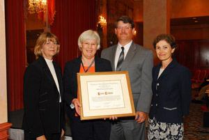 presidential citation: carol pitts diedrichs, alcts-past president; karen calhoun, award recipient; bruce chr. johnson, alcts president-elect; rosann bazirjian, alcts president.