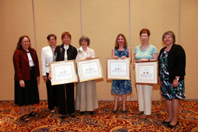 cynthia whitacre (alcts president-elect), mary case (alcts president), jeanne drewes (award recipient), karen motylewski (award recipient), kate harcourt (award recipient), pamela bluh (award recipient), dina giambi (alcts past-president)
